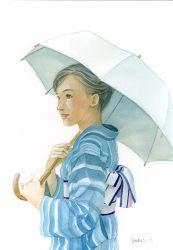 1girl artist_name black_hair brown_eyes japanese_clothes kimono looking_to_the_side original over_shoulder parasol parted_lips solo summer tenko_(yukari) umbrella white_background white_umbrella yukata
