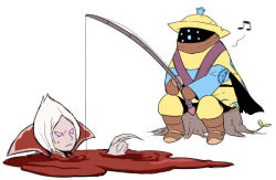2boys blood boots cape fishing fishing_rod gameplay_mechanics gloves hamamo hat jax_(league_of_legends) league_of_legends multiple_boys musical_note pink_eyes pointing pool_of_blood scarf sitting sweatdrop tree_stump vladimir white_hair