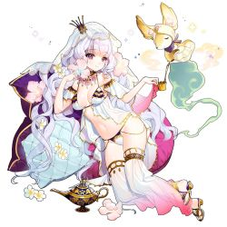 1girl breasts crown cup flower full_body genie holding jewelry lamp long_hair medium_breasts mini_crown navel official_art pillow pink_eyes pouring princess_paia sandals smile solo teapot toe_ring transparent_background uchi_no_hime-sama_ga_ichiban_kawaii veil white_hair
