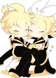 1boy 1girl ahoge black_boots blonde_hair blush boots brother_and_sister cheek-to-cheek chibi detached_sleeves eyes_closed hair_ornament hair_ribbon hairclip hand_on_another's_face hug kagamine_len kagamine_rin kyou_(nekoneko) ponytail ribbon sailor_collar short_ponytail siblings thigh_boots thighhighs vocaloid white_background white_ribbon