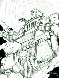 1girl 2boys 80s autobot carly_(transformers) frog hasbro hound_(transformers) kamizono_(spookyhouse) long_hair machine machinery mecha monochrome multiple_boys oldschool rain robot science_fiction sitting smile spike_witwicky transformers wet