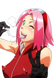 1girl bare_shoulders blush breasts cum cum_in_mouth erect_nipples gloves green_eyes happy haruno_sakura headband large_breasts looking_at_viewer naruto ninja nipples open_mouth pink_hair saliva short_hair simple_background smile solo standing sunahara_wataru tongue tongue_out v white_background wink