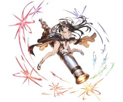 alternate_costume animal_ears ankle_cuffs anklet bangs bazooka bikini black_eyes black_hair blunt_bangs breasts buttons cape cat_ears gloves goggles goggles_on_head granblue_fantasy huge_weapon jessica_(granblue_fantasy) jewelry large_breasts long_hair minaba_hideo open_toe_shoes sandals shoes smile star swimsuit very_long_hair weapon white_gloves