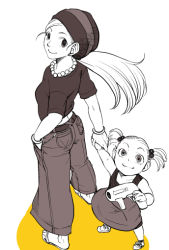 2girls age_difference android_18 ass child color_splash dragon_ball dragonball_z jewelry long_hair looking_at_viewer marron mother_and_daughter multiple_girls necklace pants short_hair smile sock_hat toy_gun twintails