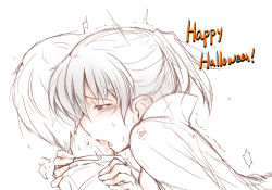1boy 1girl amagami black_eyes black_hair blush cape fang happy_halloween licking ponytail sasaki_akira_(ugc) short_hair solo_focus tsukahara_hibiki