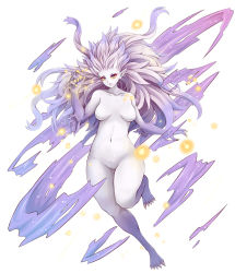 1girl alternate_form blue_eyes breasts claws dunceneygak final_fantasy final_fantasy_vi full_body highres lavender_hair long_hair navel pointy_ears purple_skin solo spiked_hair stomach tina_branford trance_tina_branford very_long_hair yellow_sclera