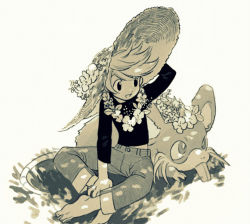 black_shirt flower jeans monochrome pokemon pokemon_special ratticate seirakun3 straw_hat yellow_(pokemon)