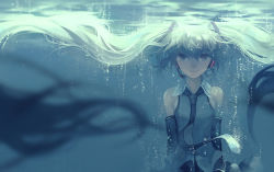 1girl bare_shoulders blue_eyes blue_hair bubble detached_sleeves hatsune_miku headset kklaji008 long_hair looking_at_viewer necktie shirt solo twintails underwater very_long_hair vocaloid