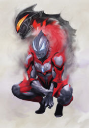 2boys aura blue_eyes father_and_son highres holding_arm multiple_boys muscle orange_eyes smoke squatting ultra_series ultraman_belial ultraman_geed ultraman_geed_(series) zeze