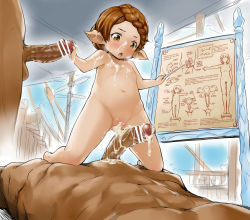 1girl 2boys :o aftersex bar_censor blush braid breasts breath brown_hair censored cum cum_in_pussy cum_on_body cum_on_breasts cum_on_upper_body elf facial flat_chest french_braid girl_on_top granblue_fantasy loli looking_down multiple_boys multiple_penises navel nipples nude open_mouth penis pointy_ears precum pussy sex_ed solo_focus souffleramahr veins veiny_penis yellow_eyes zanzi