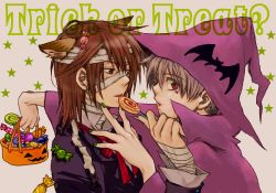 albino bandage black_eyes brown_hair couple grey_hair halloween haruka hat ichinomiya_kantarou nail_polish red_eyes ribbon short_hair stars suit sweets tactics tattoo witch yaoi