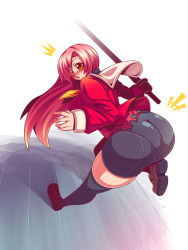 1girl ass bike_shorts blush breasts curvy female from_behind hayate_no_gotoku! huge_ass huge_breasts katsura_hinagiku long_hair looking_at_viewer looking_back open_mouth raion-san school_uniform shoes solo sword thick_thighs thighhighs thighs torn_clothes weapon wide_hips yellow_eyes
