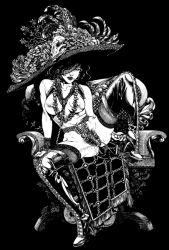 1girl artist_request bare_shoulders black_hair boots breasts chair chastity_belt female fishnets full_body hat high_heel_boots high_heels jewelry lips lipstick looking_at_viewer makeup monochrome mouth_hold necklace nipples pubic_hair sitting skull solo spread_legs thighhighs