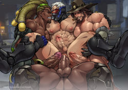 4boys abs age_difference anal anus armor artist_name artist_request ass bara beard blush boots brown_hair cigar clenched_teeth dark_skin erection facial_hair gloves green_eyes group_sex hat interracial large_penis leg_lift lifting lucio_(overwatch) male_focus mask mccree_(overwatch) multiple_boys muscle nipples nude orgy overwatch pecs penis pubic_hair reaper_(overwatch) red_eyes sandwiched scar sex shoes silver_hair sitting sitting_on_person smile soldier:_76_(overwatch) sweat teeth testicles text uncensored yaoi
