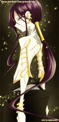 androgynous asura earrings jewelry long_hair male_focus purple_hair red_eyes shaman_king shirtless skinny smile tattoo very_long_hair