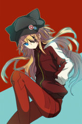 1girl animal_ears animal_hat aqua_background badge bangs black_hat blonde_hair blue_background blue_eyes bodysuit breasts button_badge cabbie_hat cat_hat closed_mouth evangelion:_3.0_you_can_(not)_redo expressionless eyebrows_visible_through_hair eyepatch fake_animal_ears floating_hair from_side hair_between_eyes hair_over_one_eye hands_in_pockets hat hat_ornament invisible_chair jacket juke knee_up long_hair long_sleeves looking_at_viewer neon_genesis_evangelion outline pilot_suit plugsuit pocket rebuild_of_evangelion red_background red_jacket simple_background single_vertical_stripe sitting skull skull_print small_breasts solo soryu_asuka_langley tape track_jacket turtleneck two-tone_background zipper