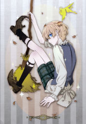 1boy absurdres amano_hana bird blonde_hair blue_eyes boots full_body highres ribbon short_hair side_view