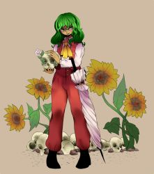 1girl ascot flower freckles full_body green_eyes green_hair green_nails highres kazami_yuuka kazami_yuuka_(pc-98) kia_(tumblr) leaf long_sleeves nail_polish pants parted_lips skull smile solo sunflower touhou umbrella vest wavy_hair