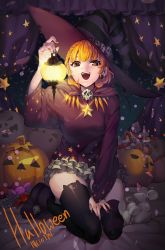 1girl animal artist_request brown_eyes candy dated female halloween hat heterochromia jack-o'-lantern mouse open_mouth orange_hair original sitting skirt skull smile solo star star_shaped_pupils symbol_shaped_pupils thighhighs witch witch_hat
