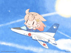 1girl :3 aircraft airplane blue_sky bow chibi cloud cloudy_sky commentary_request fighter_jet flying hair_bow hair_flaps hair_ornament hair_ribbon hairclip jet kantai_collection long_hair military military_vehicle momoniku_(taretare-13) orange_hair ribbon riding sky solo sun twitter_username watermark web_address yuudachi_(kantai_collection)