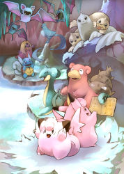 articuno cave clefable clefairy dewgong golbat jynx lapras no_humans pokemon seel slowbro toneko wartortle water zubat