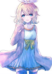 1girl :d alicetype blonde_hair blue_dress blue_eyes blush bow_dress coat collarbone cowboy_shot dress hair_between_eyes hair_ornament hairband hairclip highres kagamine_rin looking_at_viewer open_mouth purple_legwear short_hair simple_background smile solo standing thighhighs vocaloid white_background zettai_ryouiki