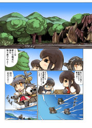 6+girls akagi_(kantai_collection) comic haruna_(kantai_collection) hisahiko kantai_collection kirishima_(kantai_collection) kongou_(kantai_collection) multiple_girls nagato_(kantai_collection) nontraditional_miko ooyodo_(kantai_collection) outstretched_arms spread_arms translation_request