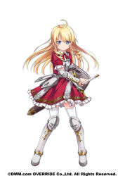 1girl ahoge amakusa_tobari armor armored_dress blonde_hair blue_eyes boots bow breastplate curly_hair fighting_stance frills full_body highres kanpani_girls knee_boots long_hair metal_boots monique_waroquier official_art ready_to_draw red_bow red_skirt serious shield sidelocks skirt solo standing sword thighhighs weapon white_background white_legwear