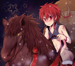 1boy blush bodypaint boots child dark elsword elsword_(character) horse looking_at_viewer male_focus night outdoors red_eyes red_hair riding rune_slayer sack santa_boots shorts smile solo stars vest waysin966