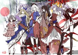 6+girls absurdres animal_ears architecture bamboo bamboo_forest belt black_hair black_legwear blazer blonde_hair blouse boots bow bow_(weapon) brown_eyes bunny_ears collared_shirt constellation dress east_asian_architecture fan folding_fan forest hair_bow hat high_heel_boots high_heels highres houraisan_kaguya inaba_tewi japanese_clothes katana kimono kneehighs long_hair looking_to_the_side mob_cap multiple_girls nature nurse_cap profile red_eyes reisen_udongein_inaba shirt sketch skirt sword touhou traditional_media watatsuki_no_toyohime watatsuki_no_yorihime weapon white_hair white_legwear yagokoro_eirin yellow_eyes yutapon