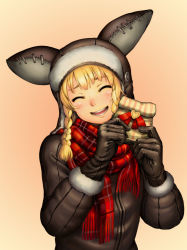 1girl :d ^_^ animal_hat blonde_hair blush braid brown_coat brown_gloves coat eyes_closed fur_trim gift gift_bag gloves gradient gradient_background happy hat head_tilt heart highres holding holding_gift hotateyuki long_hair nose_blush open_mouth original plaid_scarft red_ribbon red_scarf ribbon scarf smile solo twin_braids upper_body valentine