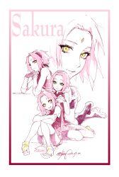 fishine forehead_mark green_eyes hairband haruno_sakura monochrome multiple_persona naruto pink_hair sketch