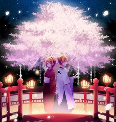 1boy 1girl blonde_hair cherry_blossoms eyes_closed japanese_clothes kagamine_len kagamine_rin kimono kuroi_(liar-player) red_eyes short_hair vocaloid