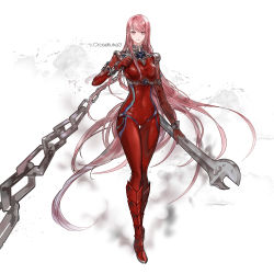 1girl 96dgd absurdres bodysuit breasts chains dungeon_and_fighter highres long_hair looking_at_viewer oversized_object pink_eyes pink_hair skin_tight smile solo wrench