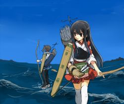 2girls akagi_(kantai_collection) amamori_kohan arrow black_eyes black_hair black_legwear blue_skirt blue_sky bow_(weapon) brown_gloves fingerless_gloves flight_deck gloves holding holding_weapon japanese_clothes kaga_(kantai_collection) kantai_collection long_hair looking_at_viewer looking_away looking_to_the_side multiple_girls muneate ocean outdoors quiver red_skirt side_ponytail skirt sky thighhighs walking walking_on_water water weapon white_legwear yugake zettai_ryouiki