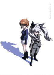 2girls absurdres anchovy girls_und_panzer highres multiple_girls nishizumi_miho official_art school_uniform simple_background twintails white_background