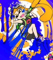1girl backpack bag bottle fang flat_chest full_body goggles goggles_on_head inkling mask nekomitei orange_eyes orange_hair paint paint_splatter payot pointy_ears shoes sneakers solo splatoon spray_bottle t-shirt tentacle_hair twintails