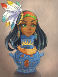 1girl black_hair earrings headdress incan indian jewelry magic native_american nipples pot pussy queen shiny shiny_hair shiny_skin solo tan_skin uncensored urn what