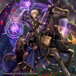 1boy ahoge armor armored_boots artist_request belt black_armor blonde_hair boots brown_eyes brynhildr_(tome) capelet casting_spell castle collar company_name fire_emblem fire_emblem_if flower horns horse horseback_riding leon_(fire_emblem_if) magic_circle mountain petals riding short_hair skull smile solo sunset