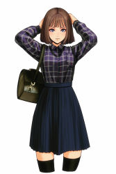 1girl absurdres bag bangs black_legwear blue_eyes blue_skirt brown_hair closed_mouth collared_shirt highres jugon long_sleeves looking_at_viewer original plaid plaid_shirt shirt shirt_pocket shirt_tucked_in shoulder_bag simple_background skirt solo thighhighs white_background