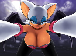 1girl bat_ears blue_eyes breasts cleavage elbow_gloves eyelashes fang furry homura_(haku89) huge_breasts leaning_forward lips rouge_the_bat solo sonic_the_hedgehog
