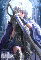 1girl armor armored_dress chest_plate covering_one_eye faulds gauntlets greaves highres holding_weapon huge_weapon hunxiao_xingshuang long_hair looking_at_viewer original pauldrons pixiv_fantasia pixiv_fantasia_t red_eyes silver_hair sitting sketch solo sword thighhighs weapon zettai_ryouiki
