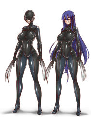 1girl akiyama_rinko ball_gag blindfold blue_hair bodysuit breasts claws gag gimp_suit gimpsuit large_breasts latex lilith-soft long_hair mysterious_rubber_woman purple_eyes sensory_deprivation skin_tight smile solo standing tagme taimanin_asagi taimanin_asagi_battle_arena taimanin_yukikaze taimanin_yukikaze_2 very_long_hair weapon