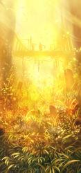bridge fantasy from_below grass highres lens_flare light light_particles long_hair original plant sakimori_(hououbds) scenery silhouette vines wind yellow
