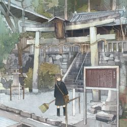 1girl architecture bag black_hair broom east_asian_architecture long_hair original railing rock rope shimenawa shoulder_bag shrine sign signature solo stairs stone_lantern torii tree wamizu
