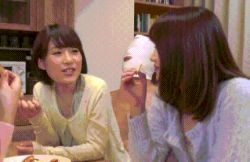 animated animated_gif asian clothed_sex eating girl_on_top mask multiple_boys multiple_girls multitasking photo sexually_suggestive