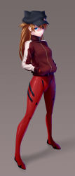 1girl animal_hat blue_eyes bodysuit brown_hair cat_hat evangelion:_3.0_you_can_(not)_redo eyepatch hands_in_pockets hat highres kai_(link2262) long_hair looking_at_viewer neon_genesis_evangelion parted_lips plugsuit rebuild_of_evangelion shiny shiny_clothes solo soryu_asuka_langley soryu_asuka_langley track_jacket zipper