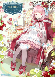 1girl animal_in_clothes armchair bangs blush bow braid bunny cake chair cocorip crown cup dress fence floral_print flower food frilled_dress frilled_legwear frilled_sleeves frills fruit hair_bow headband heart hooded_cloak lace lace-trimmed_sleeves leaf long_sleeves looking_at_viewer macaron original over-kneehighs pony red_bow red_eyes red_shoes saucer see-through shoes short_hair sitting smile strawberry tea teacup teapot text thighhighs white_legwear