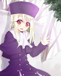 1girl :d capelet coat fate/stay_night fate_(series) hat illyasviel_von_einzbern long_hair open_mouth red_eyes smile solo waving white_hair yuuuuu_(magia-mami)