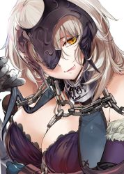 1girl armor breasts chains cleavage elbow_gloves fate/grand_order fate_(series) fur_trim gloves headpiece jeanne_alter large_breasts looking_at_viewer marushin_(denwa0214) naughty_face ruler_(fate/apocrypha) solo yellow_eyes